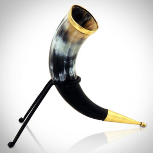 VIKING DRINKING BULL HORN WITH CUSTOM STAND