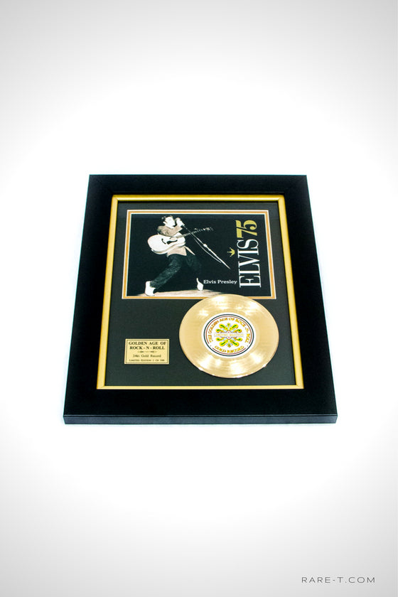 RARE-T Exclusive | Framed gold 45 of ELVIS PRESLEY - RETURN TO SENDER record etched with the iconic song lyrics.