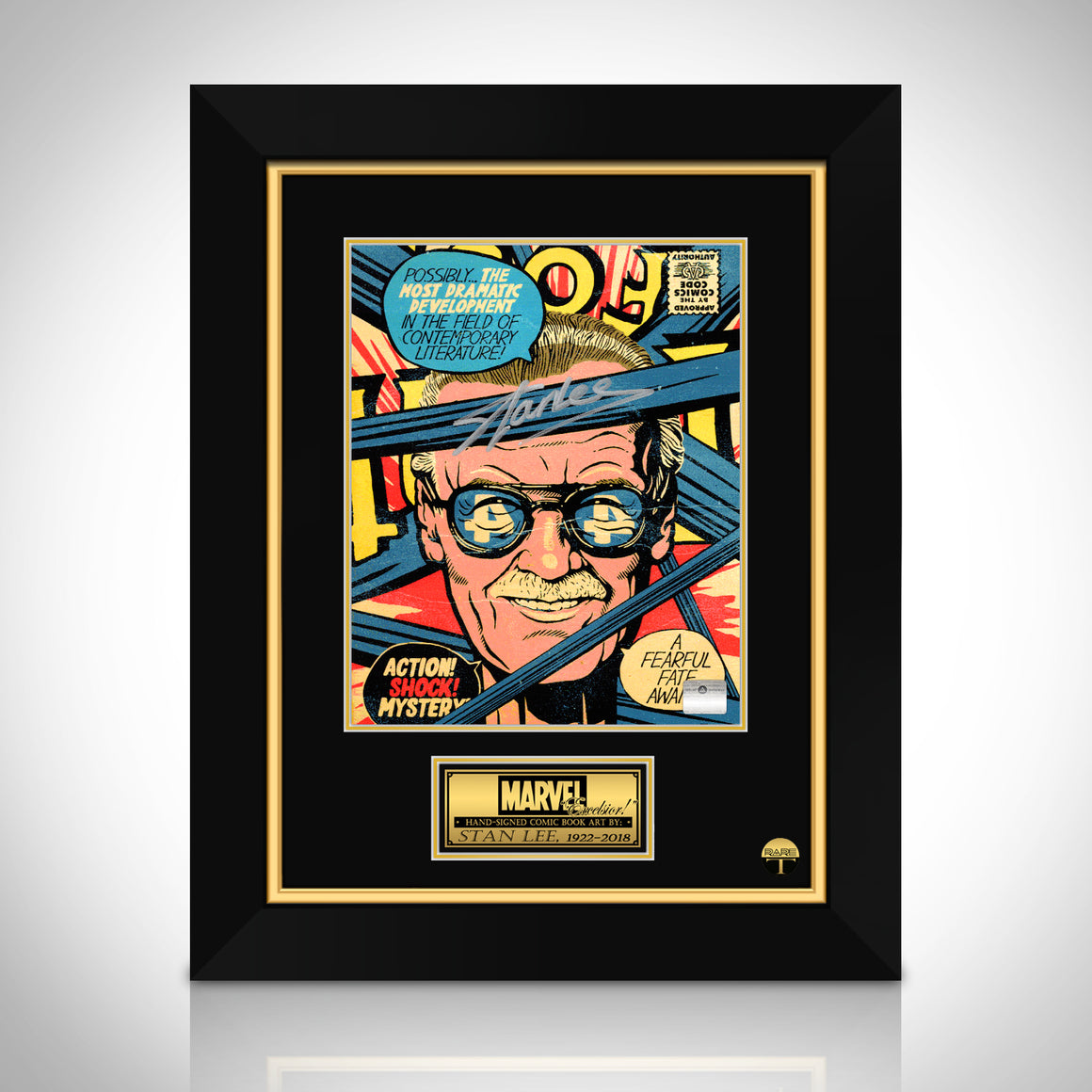 Stan Lee- 'Mr Fantastic' Hand-Signed Caricature by Stan Lee Custom Frame