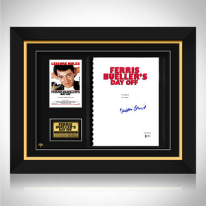 Ferris Bueller'S Day Off- Beckett Certified Hand-Signed Script By Matthew Broderick Custom Frame