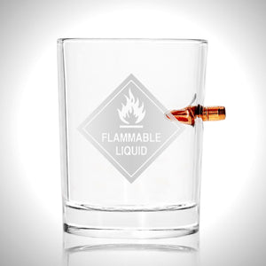 Flammable Liquid Shot Glass - Handmade Etched Rock Glass Shot Glass with Embedded Bullet
