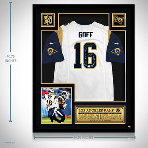 La Rams- Team Hand-Signed #16 Jared Goff White Jersey Custom Frame