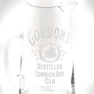 Original Vintage Gordon'S London Dry Gin Glass Pitcher With Unique Handle