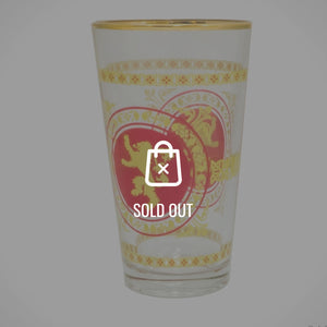 Game Of Thrones-  'Golden Lion Sigil with Red Background' Lannister House Gold Rim Pint Glass