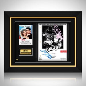 GREASE- Hand-Signed Script by Olivia Newton-John & John Travolta Custom Frame