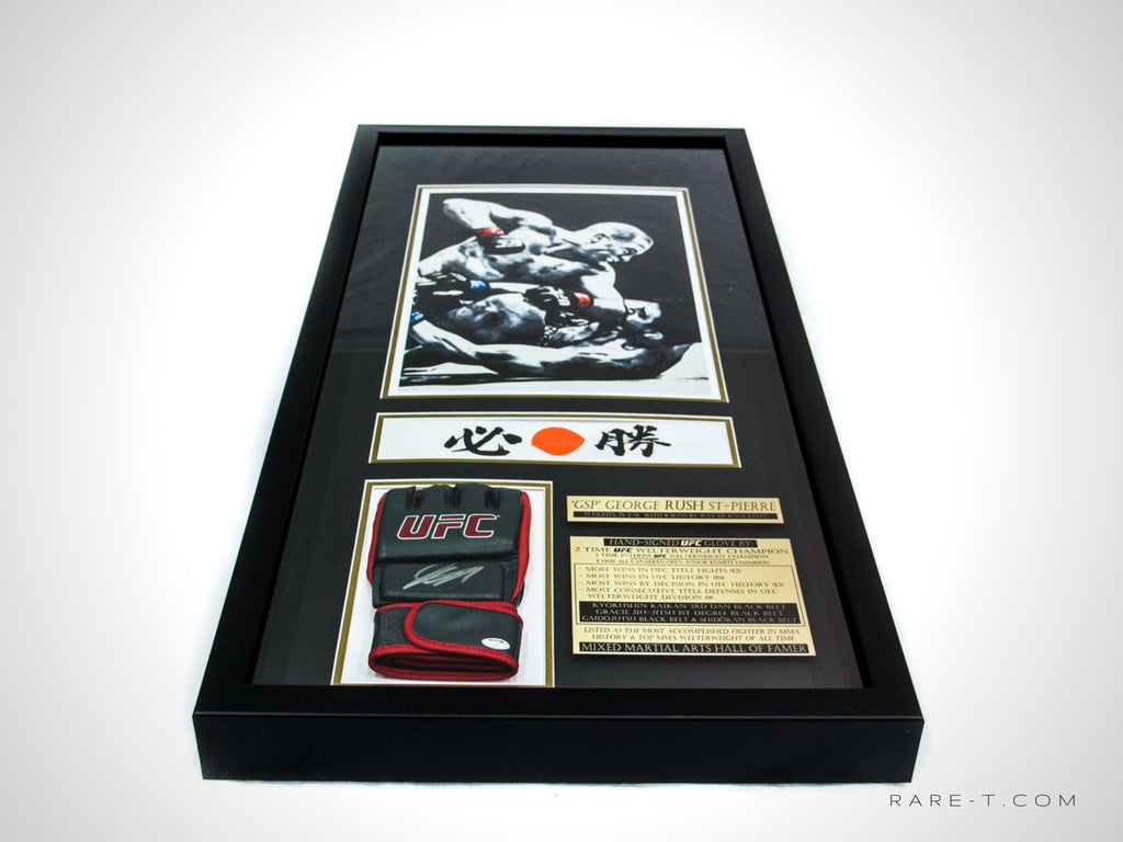 RARE-T Exclusive VIP frame showcases an art print, a UFC/MMA glove signed by GSP 'RUSH' ST-PIERRE, as well as his iconic bandana.