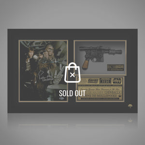 Star Wars- Hans Solo & Chewbacca Beckett Certified Hand-Signed Photo With Blaster By Peter Mayhew Frame