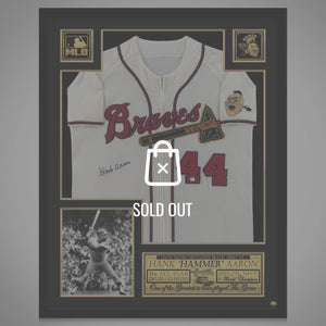Atlanta Braves- Hand-Signed Jersey by Hank Aaron Custom Frame