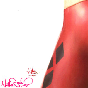 Harley Quinn 'Suicide Pin Up' Hand-Signed Artwork Print By Artist Nathan Szerdy Custom Frame - RARE-T