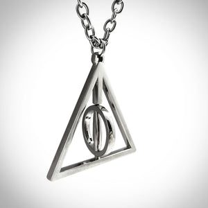 Harry Potter Deathly Hallows Symbol Solid Metal Spinning Necklace