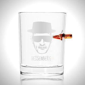 Breaking Bad Shot Glass - Handmade Breaking Bad Etched Rock Glass Shot Glass with Embedded Bullet
