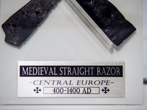 RARE-T Exclusive 'MEDIEVAL STRAIGHT RAZOR 400-1400 AD' Museum Display