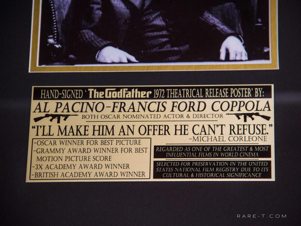 The Godfather Vito Corleone Al Pacino Francis Ford Coppola hand signed photo gallery frame plate