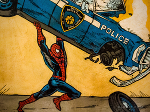 RARE-T Exclusive 'SPIDER MAN F THE POLICE' Painting