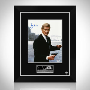 James Bond- '007'  Psa/Dna Certified Hand-Signed Photo By Sir Roger Moore Custom Frame