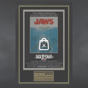 Jaws- Cast Hand-Signed Poster Custom Frame