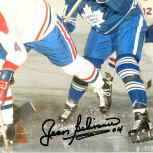 Montreal Canadiens- Jean Béliveau #4 Away Jersey Attacking The Net Hand-Signed Photo Custom Frame