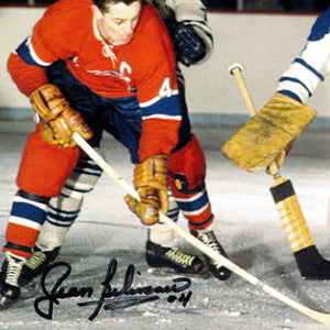 Montreal Canadiens- Jean Béliveau #4 Home Jersey Attacking The Net Hand-Signed Photo Custom Frame
