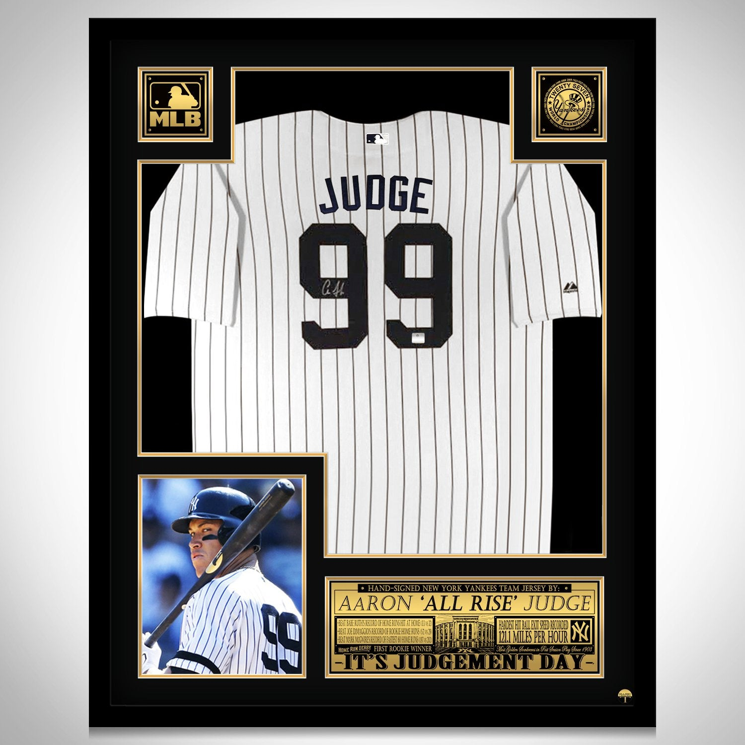 size 40 94a6b 1c34b Aaron Judge- Hand-Signed New York Yankees White Jersey by Aaron Judge  Custom Frame