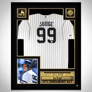 Aaron Judge - Hand-Signed New York Yankees White Jersey By Aaron Judge Custom Frame