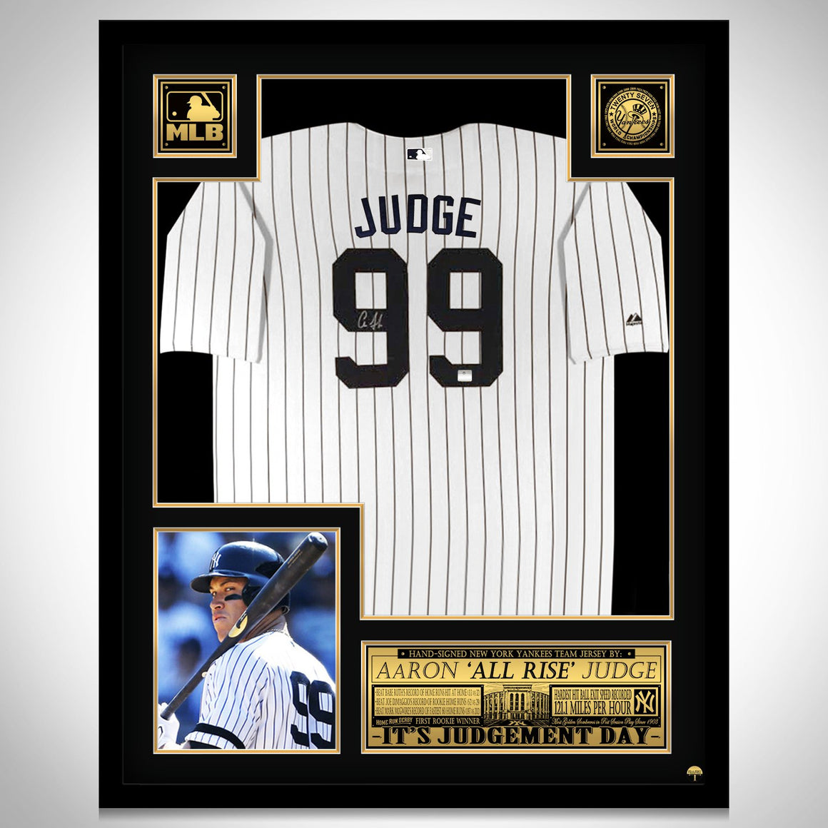Aaron Judge- Hand-Signed New York Yankees White Jersey by Aaron Judge Custom Frame