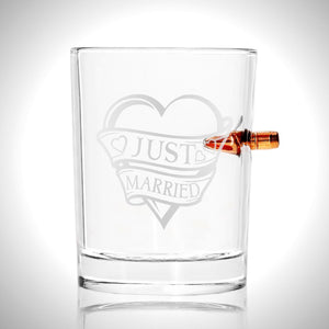 Handmade Real 'Bullet-Embedded - Just Married' Etched Rock Glass