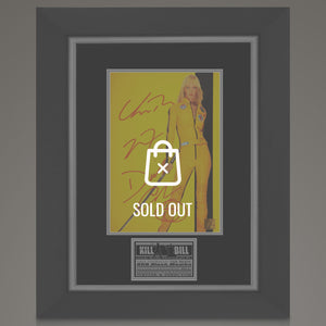 Kill Bill Hand-Signed Mini-Poster By Uma Thurman, David Carradine, & Quentin Tarantino Displayed In A Rare-T Exclusive Custom Frame