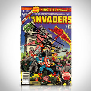 Marvel- King-Size Annual Invaders Hand-Signed Comic Book By Stan Lee Custom Frame