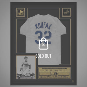 Sandy Koufax- Hand-Signed La Dodgers White Jersey By Sandy Koufax Custom Frame