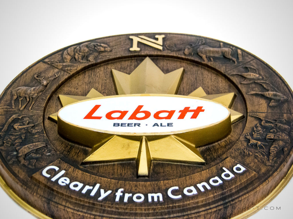 RARE-T | Original Vintage 'LABATT's Beer/Ale - Great North' Bar Sign, features a 'carved wood' hunting/fishing themed scenery that's 'Purely From Canada'.