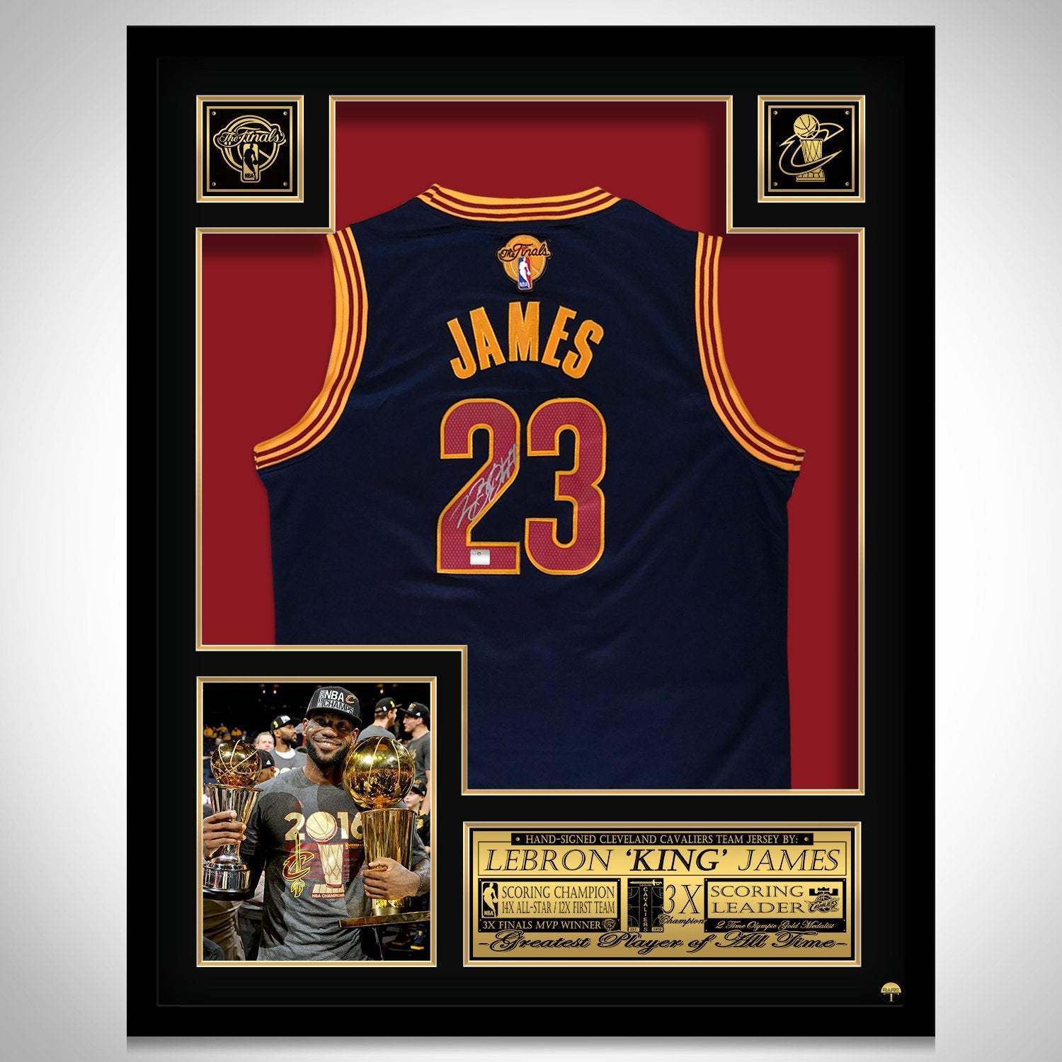 pretty nice 5aeb1 cd49f Lebron James- Hand-Signed Cleveland Cavaliers Blue Jersey Custom Frame