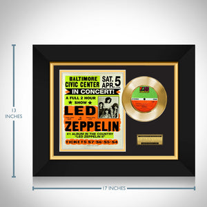 Rare-T Exclusive Limited Edition Gold 45 'Led Zeppelin - Baltimore Civic Center 1972' Custom Frame