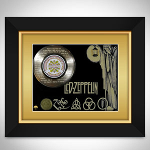 Led Zeppelin - Stairway To Heaven Lyrics Limited Edition Etched Gold Lp Custom Frame