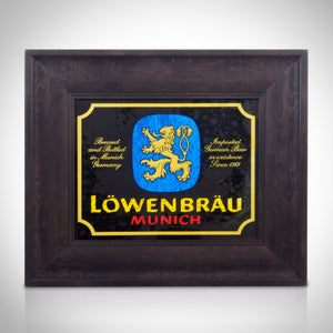LÖWENBRÄU- Vintage Reverse Painted 1383 LÖWENBRÄU- Munich Beer' Bar Mirror/Advertisement