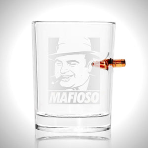 Al Capone Mafioso Shot Glass- Handmade Mafioso Etched Rock Glass Shot Glass with Embedded Bullet