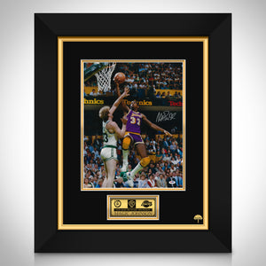 Magic Johnson- PSA/DNA Witnessed Certified Hand-Signed Los Angeles Lakers Mini Poster Custom Frame