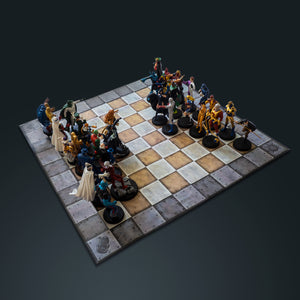 Limited Edition Dc Vintage Chess Set With 32 Numbered Eagle Moss Figures & Comic Books.