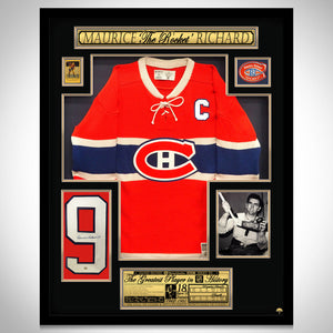 Maurice Richard- Hand-Signed Montreal Canadiens Jersey Custom Shadow Box Frame