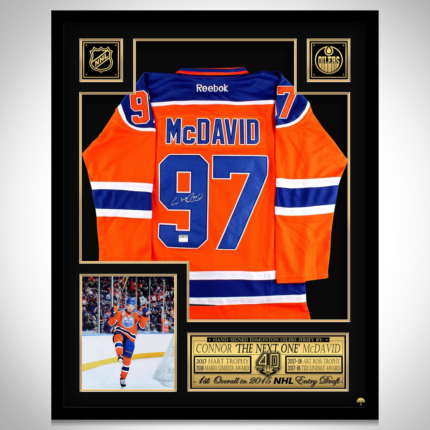timeless design 25fc9 d8a16 Connor McDavid- Hand-Signed Edmonton Oilers Jersey Museum Frame Now Adidas