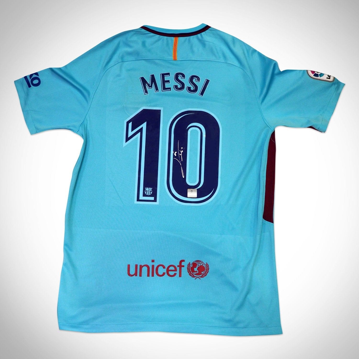 another chance 2ae43 5279a Leo Messi 'Barcelona 2018' Hand-Signed Nike (Away) Jersey by Lionel Messi  Custom Frame