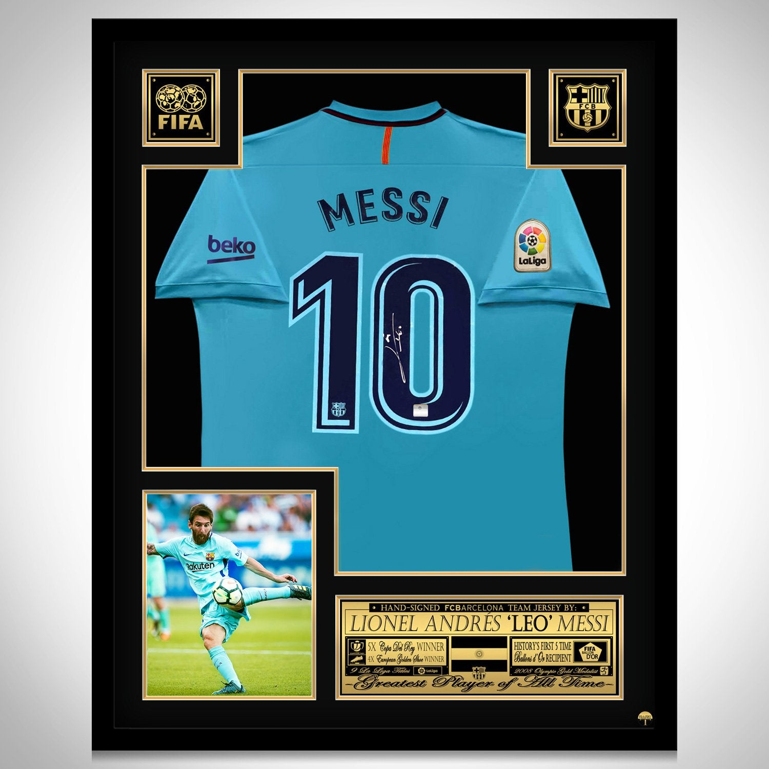 another chance 2638d 1fae8 Leo Messi 'Barcelona 2018' Hand-Signed Nike (Away) Jersey by Lionel Messi  Custom Frame