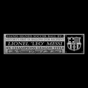 Lionel 'Leo' Messi Hand-Signed Green Soccer Ball Custom Museum Display