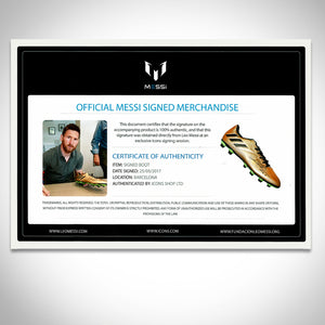 Leo Messi- Authentic Hand-Signed Bronze Adidas Soccer Cleat By Leonel Messi Custom Museum Display