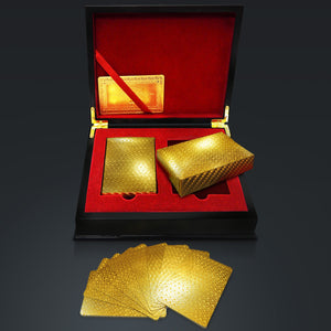 24K Gold Plated Playing Cards Mosaic Pattern With Elegant Display Box
