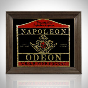 Napoleon Odeon V.S.O.P Fine Cognac Vintage Reverse Painted Bar Mirror/Advertisement