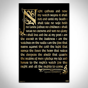 Game Of Thrones - Nightwatch Oath Banner