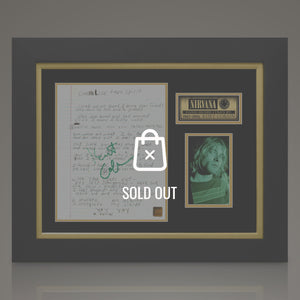 Nirvana - Hand-Signed Lyrics By Kurt Cobain In A Custom Frame