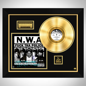 N.W.A. FUCK THA POLICE Limited Signature Edition Studio Licensed Gold LP Custom Frame