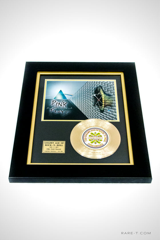 RARE-T Exclusive | Framed gold 45 of PINK FLOYD'S Another Brick In The Wall & etched with the iconic song lyrics.