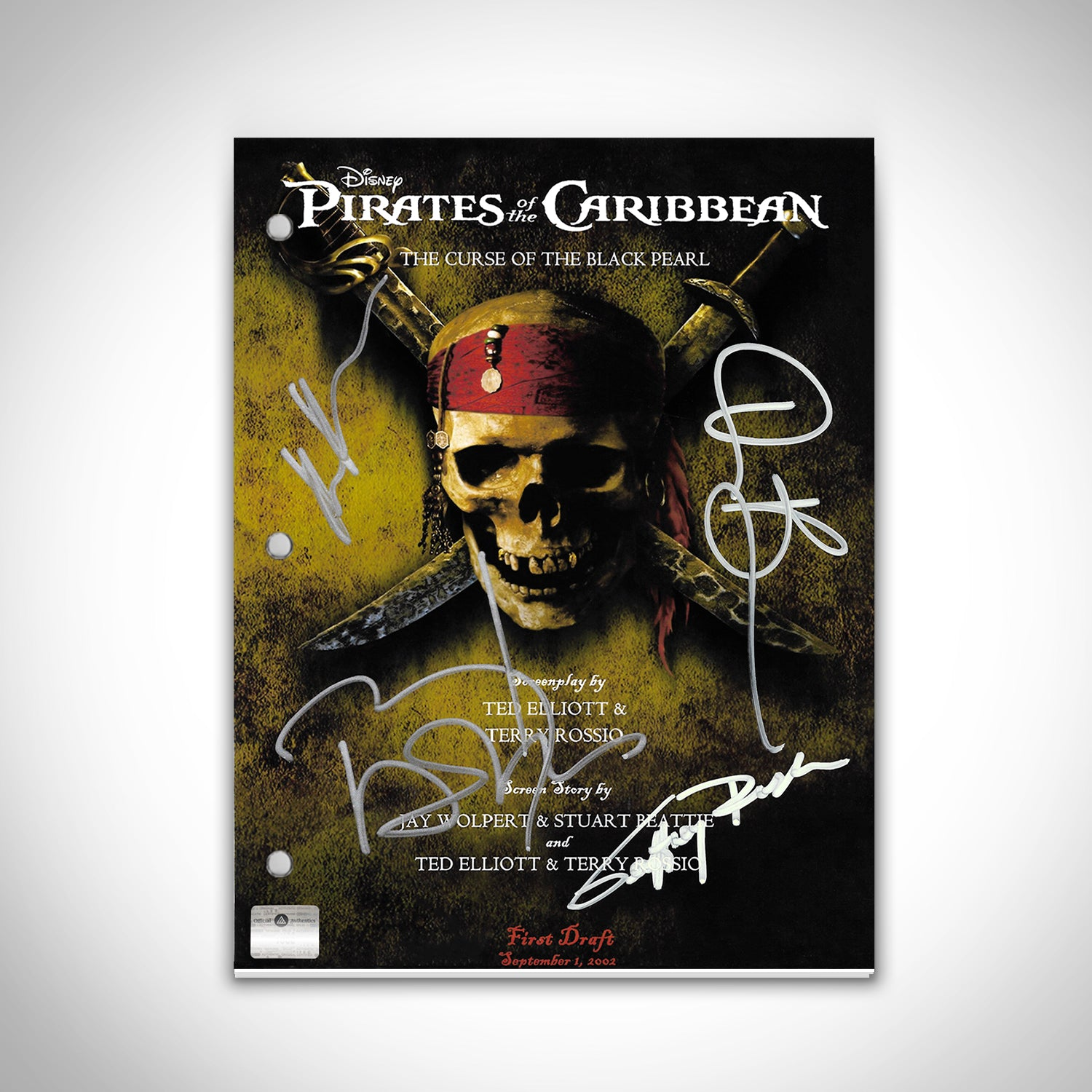 Pirates of the Carribean - Cast Hand-Signed Script Custom Frame
